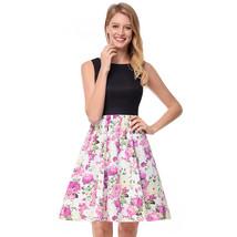 AOVEI Pink Floral Print Black Vest Hit Color 50s A Line Sweet Pleated Dress - $24.99
