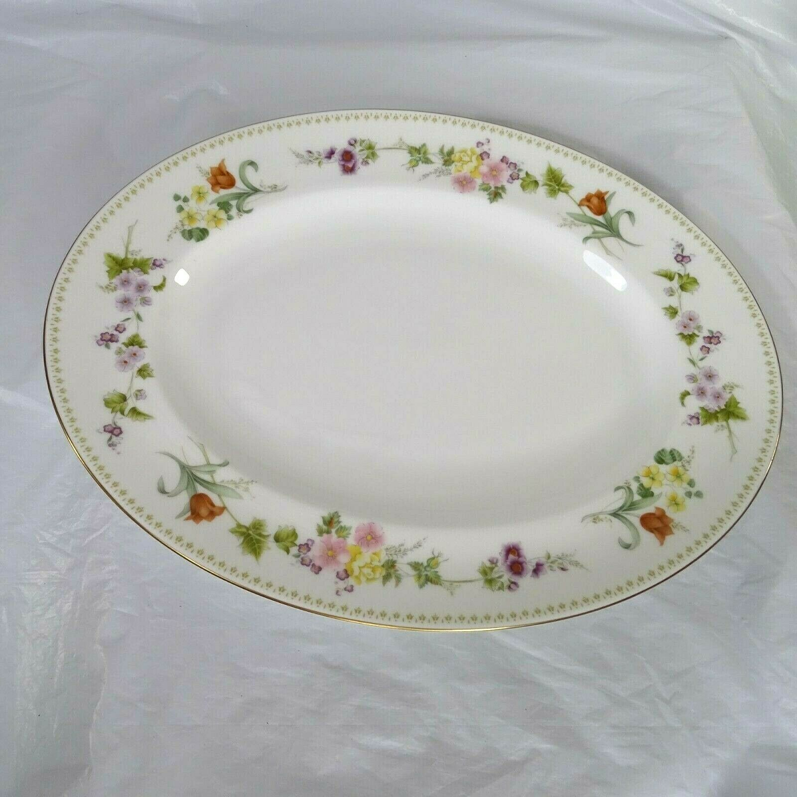 Primary image for Wedgwood Bone China Oval Platter Mirabelle R4537 Floral 14 x 11 Inch Gold Trim