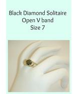Ladies Ring Black Diamond Cut Solitaire Size 7 - $15.00