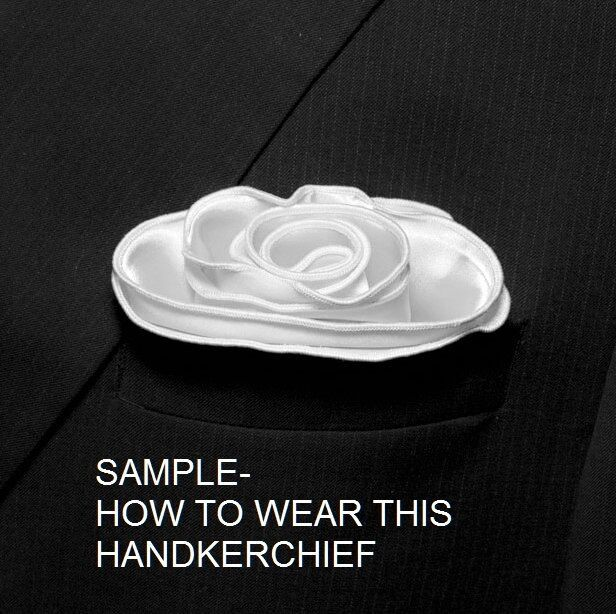 GOLD Silk BLUE border Pocket square Round Handkerchief edge trim NEW $45 image 6