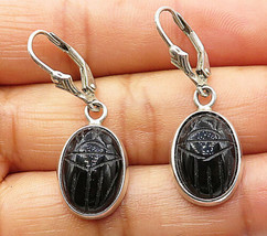 925 Silver - Vintage Engraved Black Onyx Smooth Oval Dangle Earrings - E... - $25.90