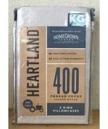 Heartland 400 Thread Count Sateen Weave 2 King Pillowcases Solid Silver - $15.44