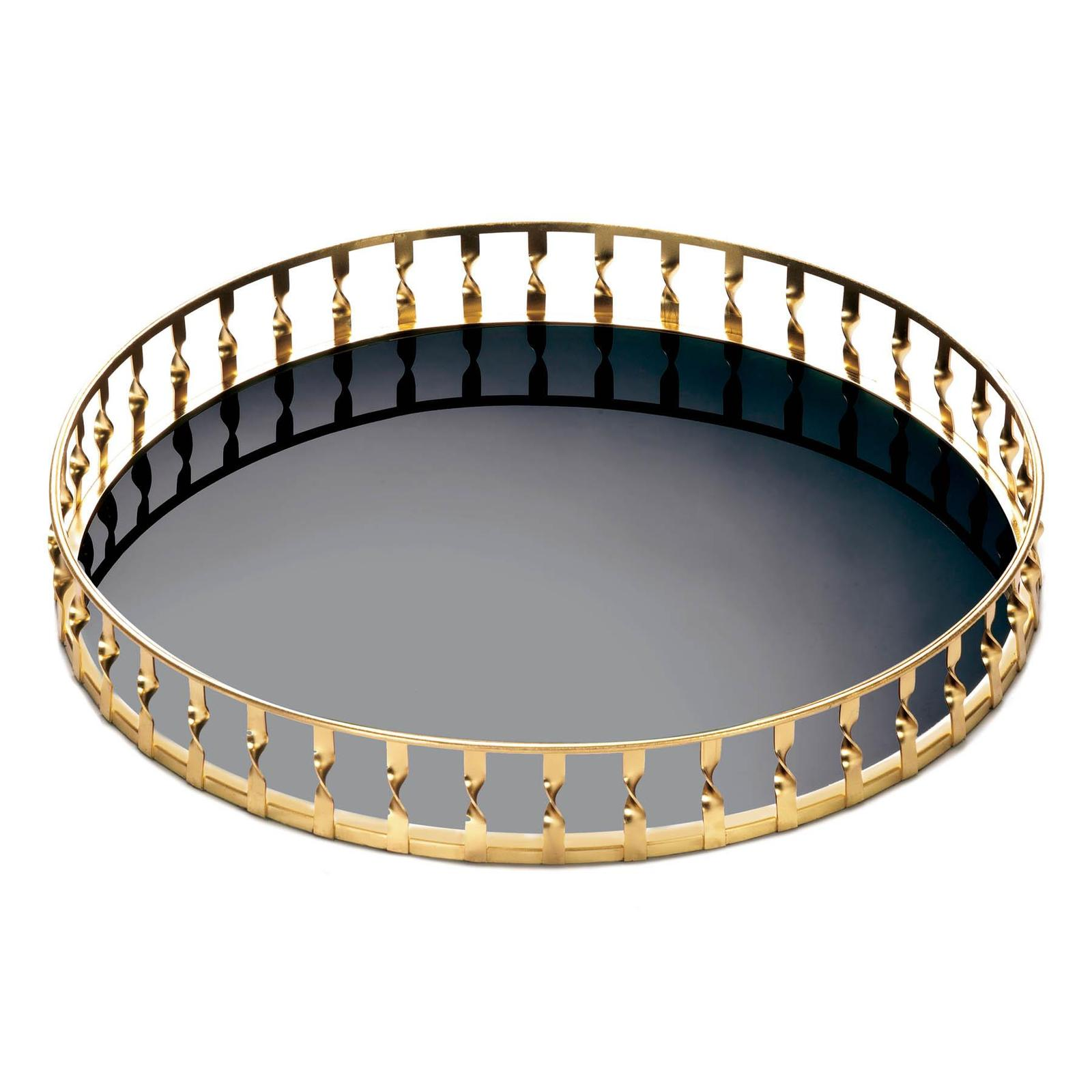 Contemporary Gold Twist Mirrored Round Tray Decorative Table or Vanity Accent