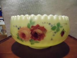 Antique Jefferson Custard Glass Rose OPTIC Master Berry Bowl Vaseline - $77.07