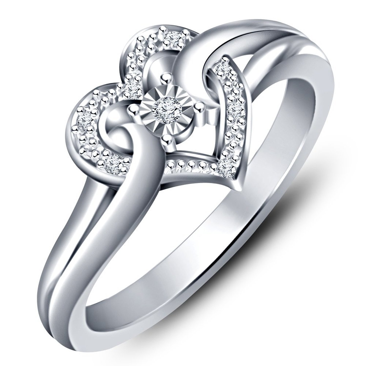 Heart Shape Ring Round Cut Sim Diamond 925 Sterling Silver 14k White Gold Plated