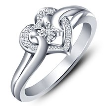 Heart Shape Ring Round Cut Sim Diamond 925 Sterling Silver 14k White Gold Plated - $58.20