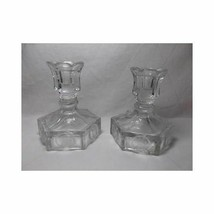Fostoria Glass Liberty Coin Candlesticks Holders Taper Bell 1886 General Clear - $23.13