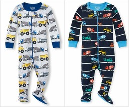 NWT The Childrens Place Boy Construction Trucks Footed Stretchie Pajamas Sleeper - $8.99