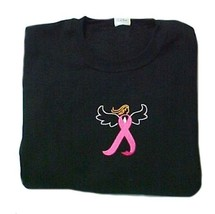 Breast Cancer T Shirt 2XL Pink Awareness Ribbon Angel Black Embroidered ... - $25.19