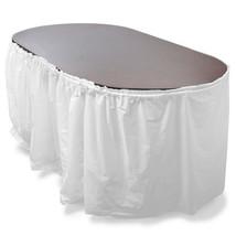 14' White Reusable Plastic Table Skirt, Extends 20'+ - $15.35
