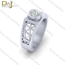 Solid 925 Sterling Silver Solitaire Diamond Wedding Band Men's Anniversa... - £66.50 GBP+