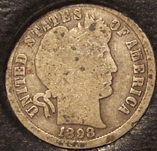 1898-S Silver Barber Dime Low Mintage #0527 - $8.49