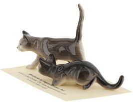 Hagen Renaker Miniature Cats Gray Walking and Crouching Figurine Set of 2 image 3
