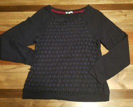Anthropologie Kut from the Kloth Navy Blue Long Sleeve Top Shirt Size M L - $12.59