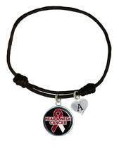 Custom Head & Neck Cancer Awareness Black Leather Unisex Bracelet Jewelry Charm - $13.94