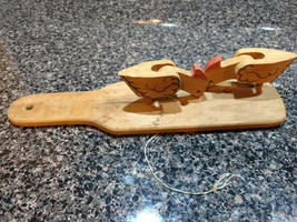 Folk Art Wooden Pecking Chickens Paddle Toy  - $12.00