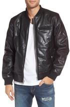 Bomber Jacket Stylish Stitching Men's Genuine Lambskin Leather Jacket jacketGL37