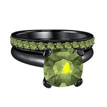 Cushion Green Tourmaline 14k Black Gold Over 925 Silver Engagement Bridal Ring  - $72.22