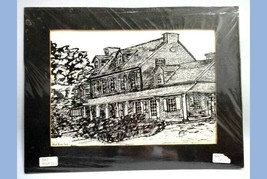 1974 vintage RED ROSE INN ORIGINAL ART SKETCH west grove pa RUTH ANN ADAMS - $87.95