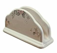 Pfaltzgraff Wyndham Napkin Holder Floral White Cream Stoneware Kitchenware USA - $7.91