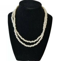 "Vintage Faux Pearl Necklace Approximately 16"" Marked Hong Kong - $10.70"