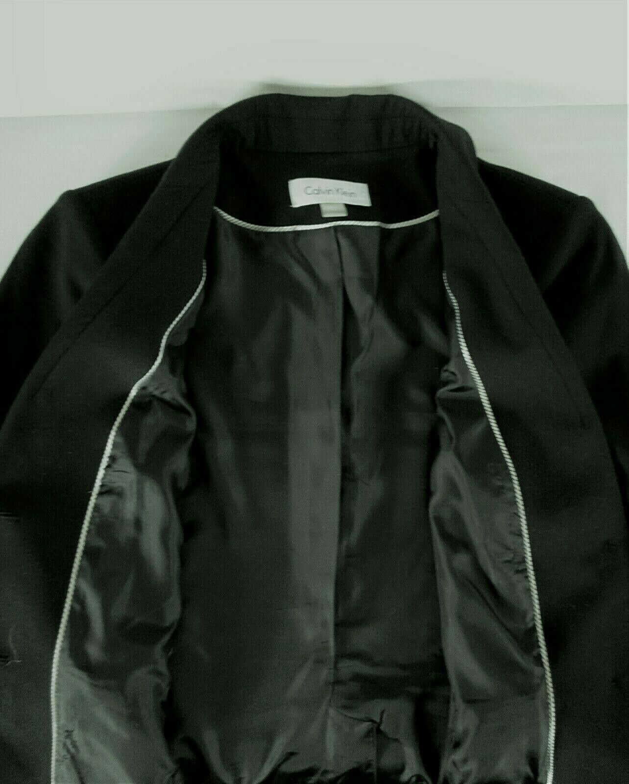 CALVIN KLEIN womens Sz 10 L/S black 2 button FULLY LINED jacket (B4)