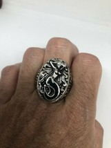 Vintage Mermaid Ring Southwestern Black Inlay Size 10 - $34.65