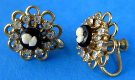 Earrings Rhinestones Cameos 1940s Filigree Screw Back Gold Plated Vintag... - $20.00