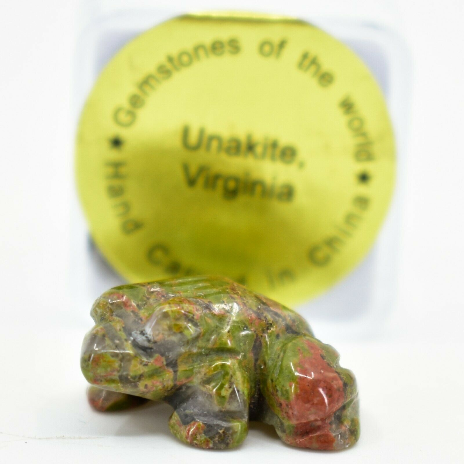 Unakite Jasper Gemstone Tiny Miniature Frog Figurine Hand Carved in China