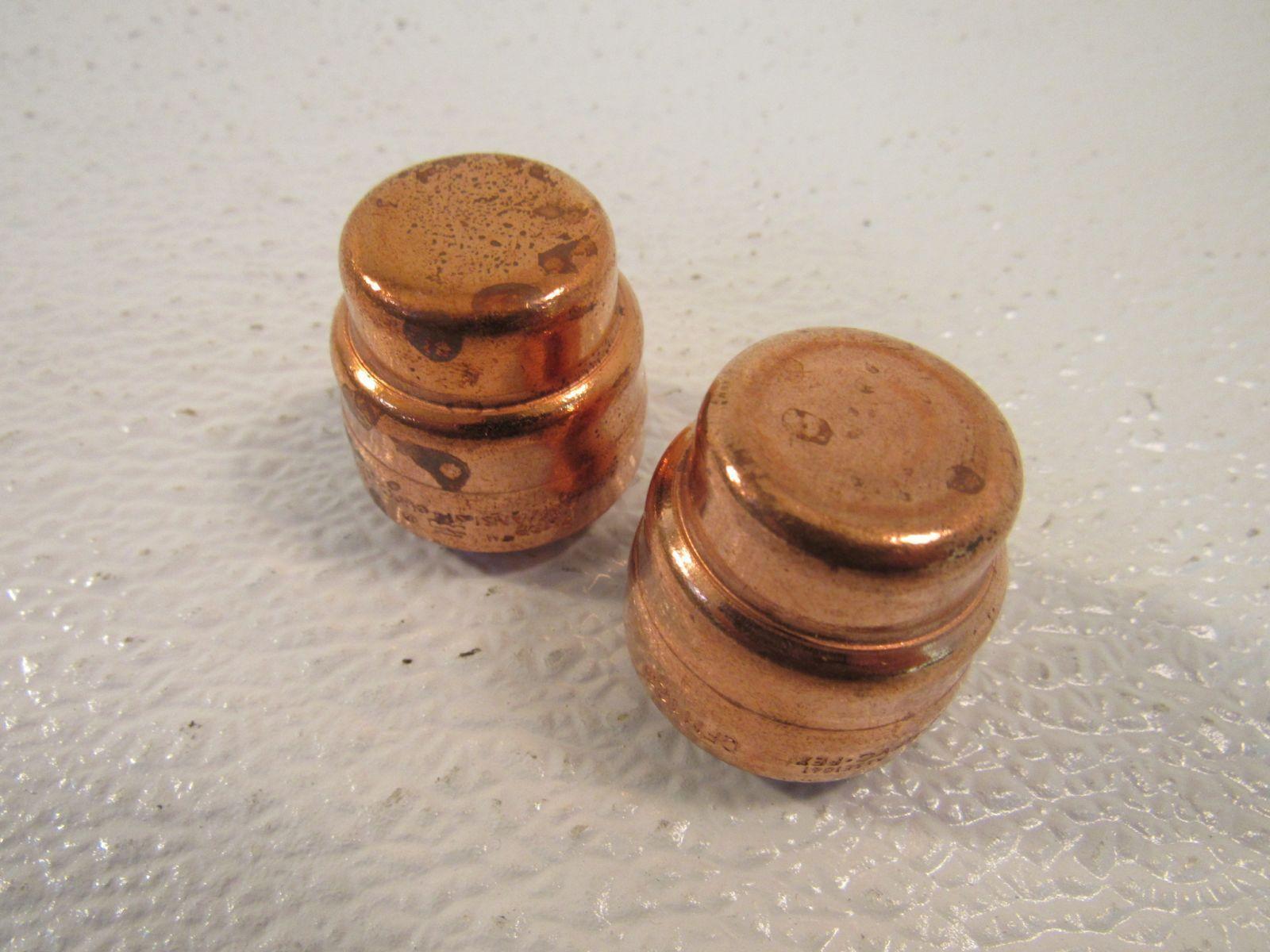 Standard 3/4in SharkBite End Cap Lot of 2 OFH104 Copper