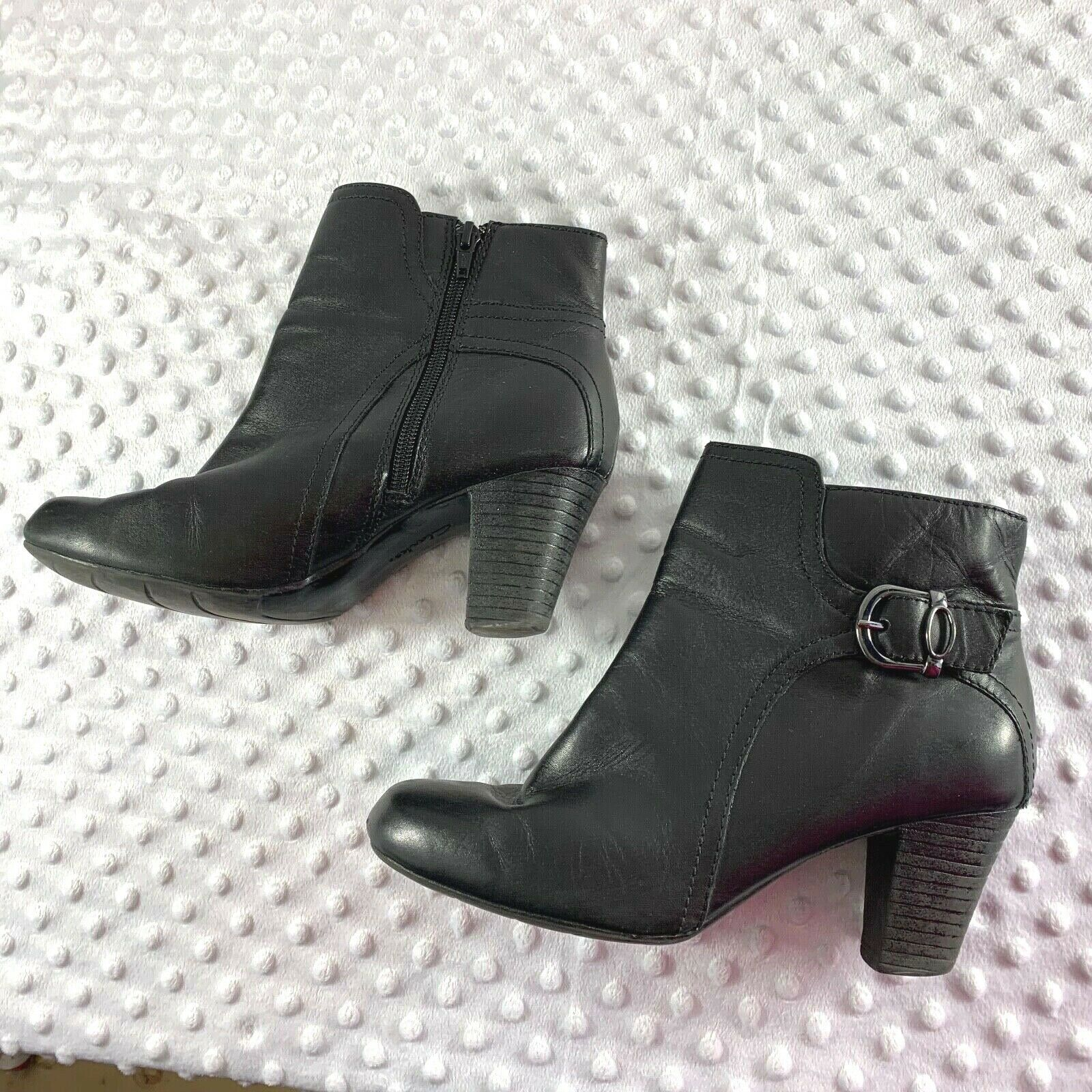 Clarks Sz 8 M Womens Black Side Zip Ankle Booties Shoes