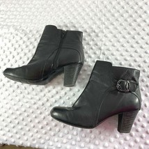 Clarks Sz 8 M Womens Black Side Zip Ankle Booties Shoes - $28.04