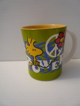 Vintage Snoopy Flower Power Big Coffee Mug Tea Cup Ceramic White - $9.90