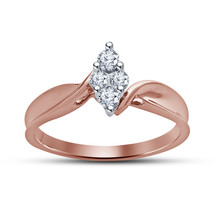 Rose Gold Plated 925 Sterling Silver Round Cut Diamond Engagement Bypass... - $66.99