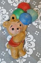 Vintage Teddy Bear Holding Colorful Balloons Ceramic Christmas Ornament ... - $3.15