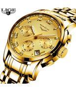 LIGE Men's luxury, chronograph, waterproof, full stainless steel, quartz... - $43.99