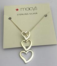 Macy's Sterlingsilber Dreifach Herz Halskette mit 40.6cm Kette, Neu - $9.96
