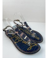 Sam Edelman Womens Gigi Ankle Strap Flat Sandals 9 Red Blue White Stripe... - $23.75