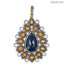 Sapphire Gemstone 14k Gold Pave Diamond 925 Sterling Silver PEAR Pendant... - $1,445.64