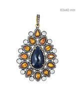 Sapphire Gemstone 14k Gold Pave Diamond 925 Sterling Silver PEAR Pendant... - $1,445.64