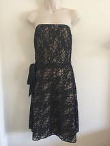 ANN TAYLOR LOFT Sz 4 Black Strapless Cocktail Dress Lace Nude Liner Part... - $16.66