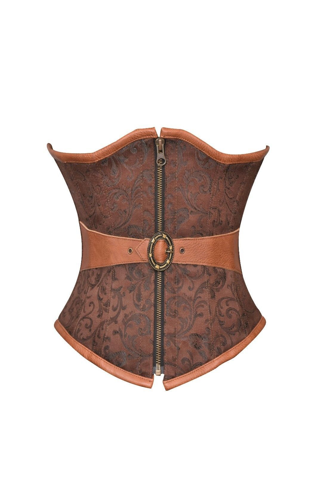 Brown Brocade & Leather Belt Steampunk Waist Training Bustier Underbust Corset