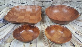 Set of 4 Formosa Large and Small Wood Woven Serving Bowls Dish - $15.83
