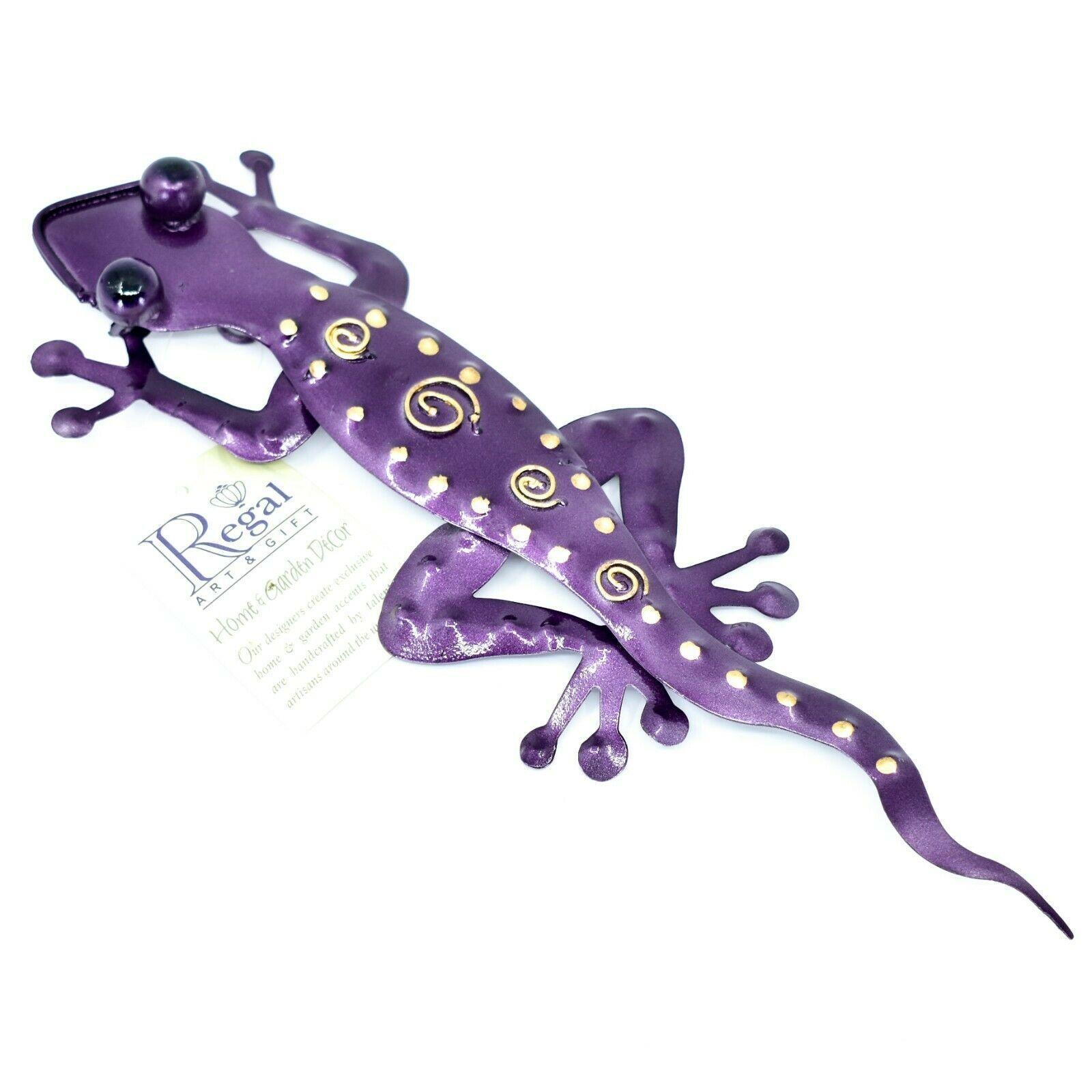"""Regal Art & Gift Hand Painted Metal Gecko Lizard 11"""" Wall Art"""