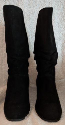 St John's Bay Genuine Leather Mid Calf Black Boots 8 1/2 M