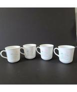 """4 VTG Corning Milk Glass Coffee """"Stencil Garden"""" Pink Blue on White Floral - $15.15"""