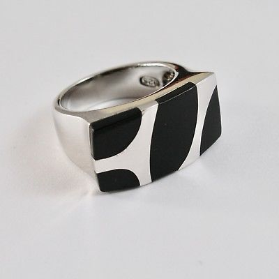 RING BAND 925 SILVER RHODIUM WITH ENAMEL BLACK