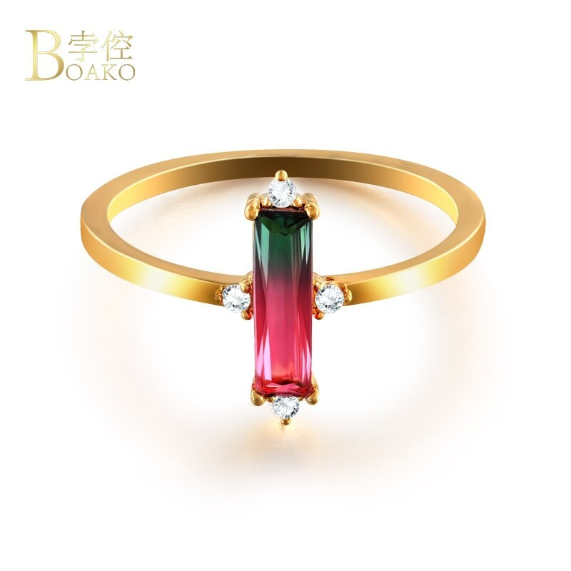 Charming Rectangle Rings for Women Red and Green Tourmaline CZ bague Gold Color  - $8.08