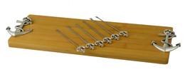 Cheese Board 6 Picks & Bamboo Wood Cutting Board, Silver Anchor Handles - $27.83