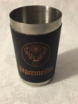 Jagermeister Stainless Steel Shot Glass Faux Leather Wrapper Jagermeiste... - $4.41